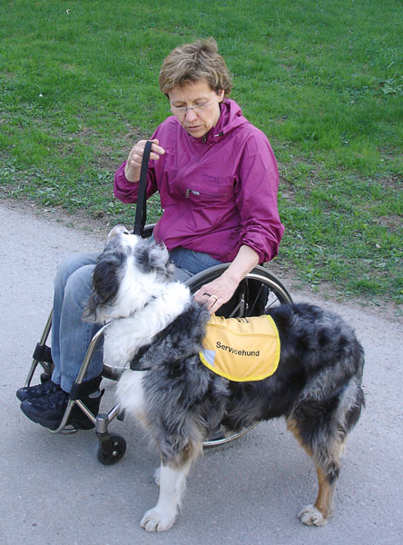 User with her service dog