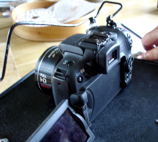 Camera with fold-out adjustable screen adapted with metal loop