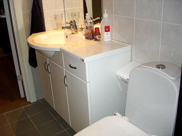 Bathroom with toilet and wash basin