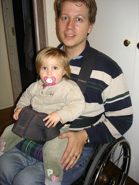 Baby carrier for parents who use wheelchairs