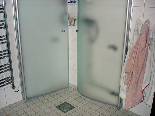 Corner shower with doors folded in toward the wall