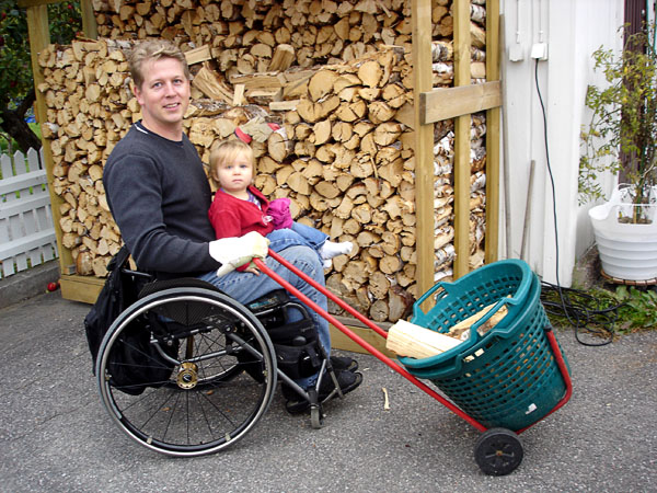Basket on wheels for firewood