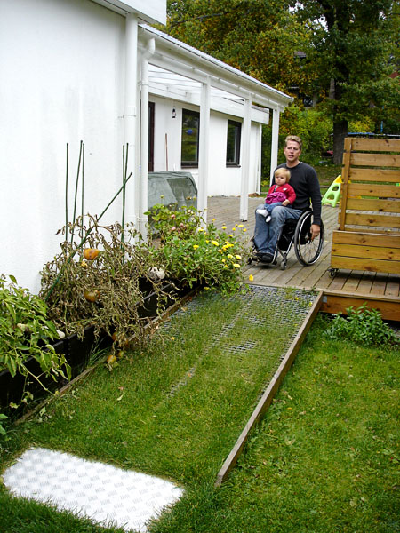 Stationary ramp from patio to lawn