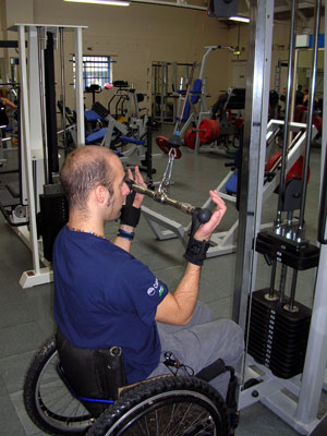 The user training in the gym using exercise aids. Photo: www.activehands.co.uk
