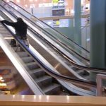 Ride down an escalator in a wheelchair