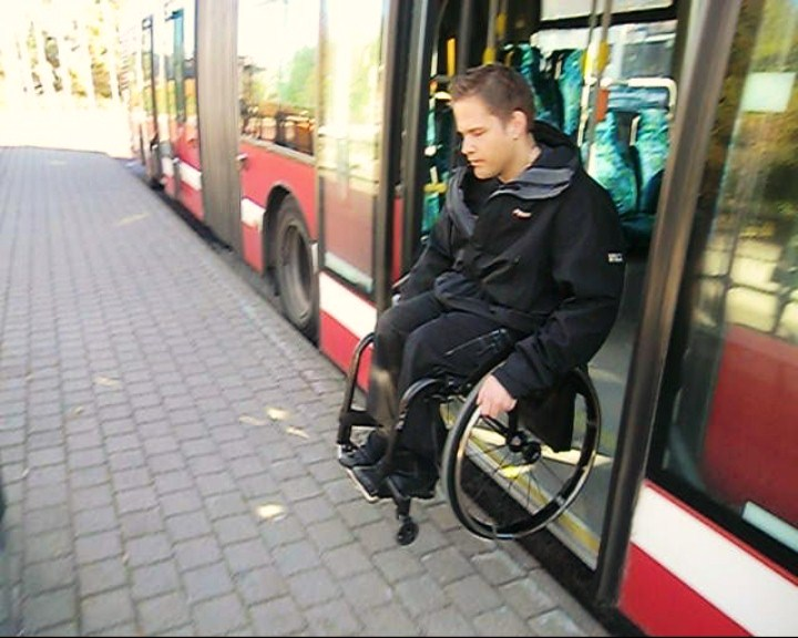 Ride a bus in a wheelchair