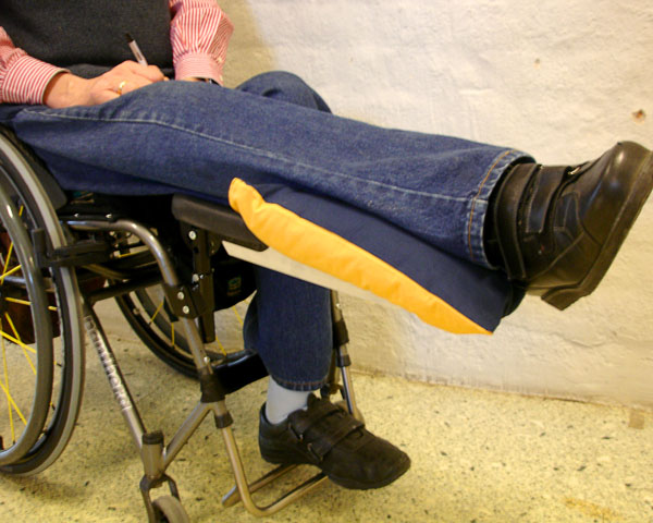 Leg resting on amputation support (close-up)