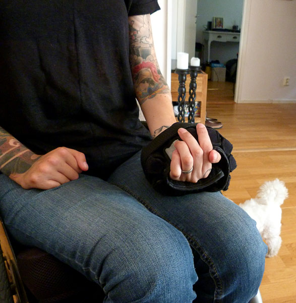 User with wrist weights