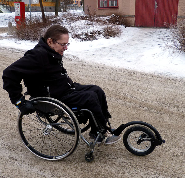 Extra wheelchair wheel, 'Freewheel'
