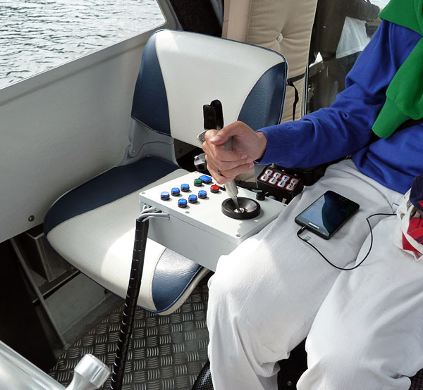 Joystick steering and navigation of adapted motorboat
