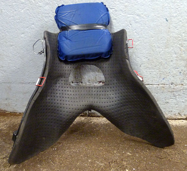 Front of saddle padded with foam cushion