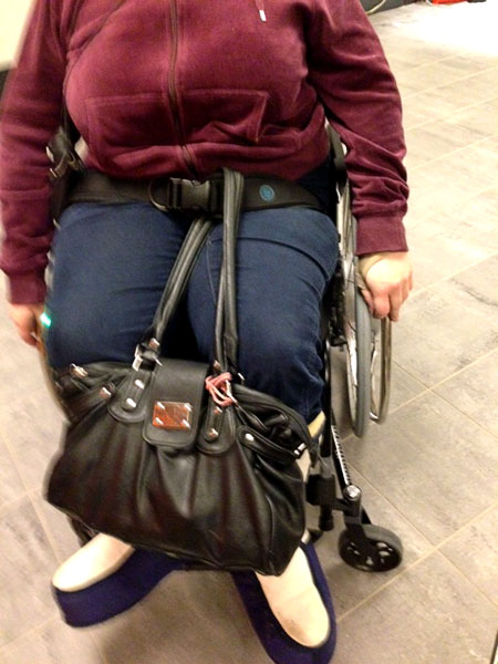 Handbag on wheelchair