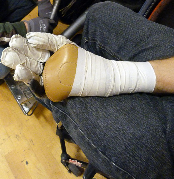 Taped glove for rugby