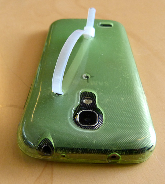 Phone adapted using cable tie