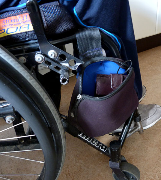 Bag on wheelchair