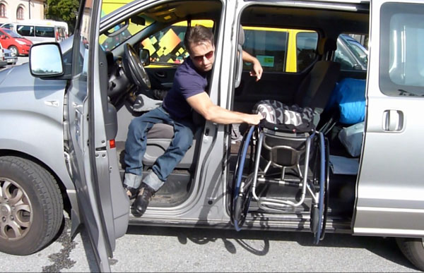 Transfer from minivan to wheelchair