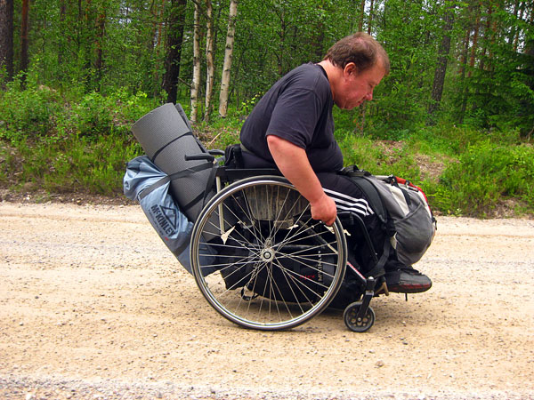 Transporting camping gear by wheelchair