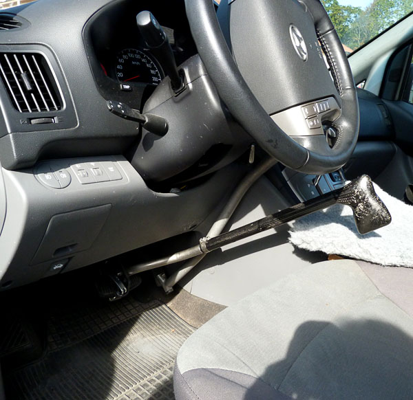 Hand controls installed in the user's car