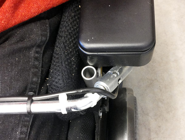 Table attachment on wheelchair