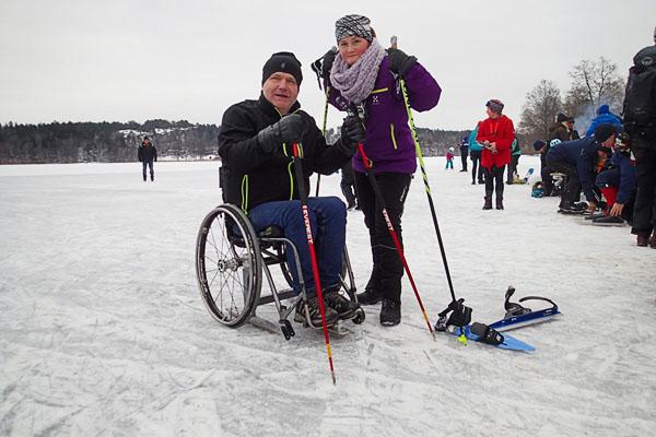 Skridskoställning till manuell rullstol